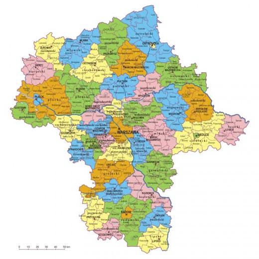 mapa województwa mazowieckiego