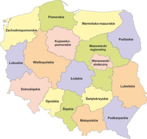 polska podział na regiony